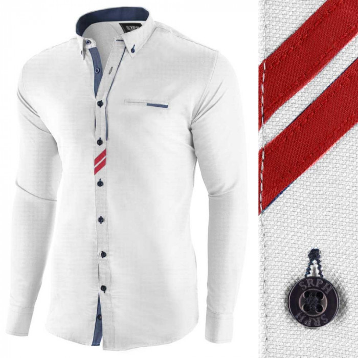 Camasa pentru barbati, alba, slim fit, casual - Monument Pierre