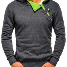 Hanorac pentru barbati cu gluga inchidere laterala fermoar si capse sport paco gri verde