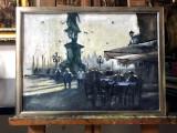 Cafenea langa statuie Tablou cu peisaj urban citadin peisaje urbane 51x38 cm, Abstract, Ulei, Realism