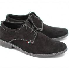 Pantofi barbati negri, casual - eleganti din piele naturala intoarsa VELN