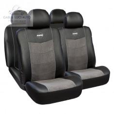 Huse scaune auto premium Momo piele ecologica + suede + material textil 11 bucati
