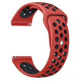 Curea silicon compatibila Samsung Galaxy Watch 46mm, telescoape Quick Release, 22mm, Rosu/Negru