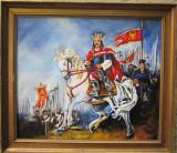 Pictura / Tablou Stefan cel Mare pe cal semnat Cimpoesu