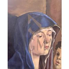 "TABLOU, ""FECIOARA MARIA"", ULEI/PANZA, 27X21,5 CM"