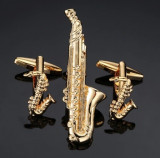 Set butoni  cu ac cravata noi forma saxofon SAX MUSIC + ambalaj cadou, Inox