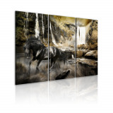 Tablou canvas 3 piese - Cal negru si cascada stancoasa - 120x80 cm, Artgeist