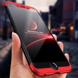 Husa Apple iPhone 8, Elegance Luxury, 360° 3in1 Negru-Rosu, MyStyle