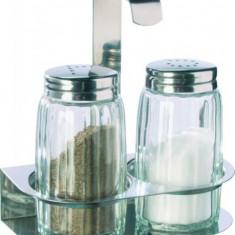 Set sare si piper din sticla cu capac inox