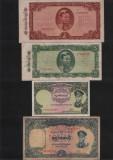 Set / Lot 4 bancnote rare Burma 1+10 kyat 1958, 5+10 kyat 1965 / (vezi scan), Asia