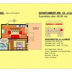 Vand apartament semidecomandat ( 2 camere de 46.9 mp)