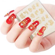 Set stickere/abtibilduri pentru unghii pe baza de apa Auriu Argintiu 30 FOLII