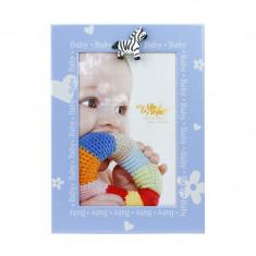 Rama foto decorativa Baby Blue, 10x15 cm, suport fixare birou, albastru
