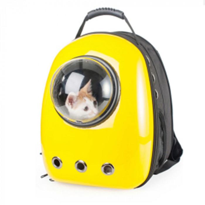 Rucsac transport animale de companie, tip capsula astronaut, galben, Gonga