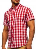 Cumpara ieftin Cămașă bărbați în carouri cu mâneca scurtă roșie Bolf 6522