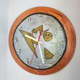 "Ceas de perete pictat ""Metalic"" - handmade - artizanat - cadou deosebit"