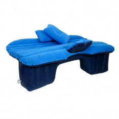 Saltea auto gonflabila Travel Bed, 138 x 85 x 45 cm, suporta 600 kg, Albastru, Oem