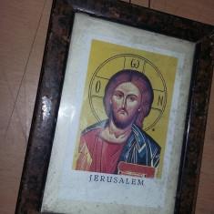 Icoana veche sfintita,icoana veche cu rama tip tablou protejata de sticla,T.GRAT