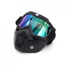 Masca protectie fata, plastic dur + ochelari ski, lentila multicolora, MD03