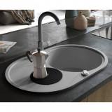 vidaXL Chiuvetă de bucătărie din granit, cu un bazin, oval Gri