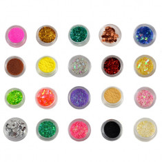 Set Nail-Art Winter Colors - 20 bucati Strasuri Paiete Sclipici