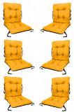 Set 6 Perne sezut/spatar pentru scaun de gradina sau balansoar, 50x50x55 cm, culoare galben, Palmonix