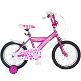 Bicicleta copii 16 FIVE Arcanine cadru otel culoare fucsia alb roti ajutatoare varsta 4 7 ani