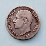SPANIA  -  50 Centimos 1880  -  Alfonso XII  -  Argint 2.5 g