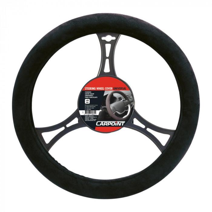 Husa volan Carpoint , material cauciucat aspect piele intoarsa, culoare negru, diametru 37-39cm Kft Auto