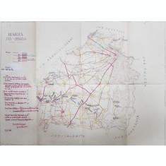 HARTA JUDETULUI BRAILA , SCARA 1 / 200.000 , DESENATOR PRINCIPAL ION CHIRIAC , POLICROMA , 1941