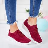 Pantofi dama piele naturala intoarsa visinii Ragavi -rl