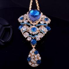Colier fashion pandantiv Blue Crystal