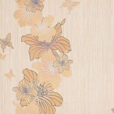 Tapet bej model floral si finisaj metalic evidentiat 108-31