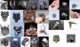 Inel CRANIU Masonic,Cranii,Tap PENTAGRAMA,Leu,Tigru,Bufnita,ANUBIS,Taur,Vultur