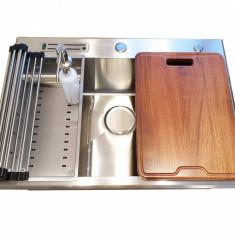 Chiuveta bucatarie inox CookingAid CLIO XL cu dozator + tocator + gratar rulabil