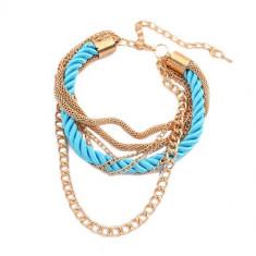 Brăţară de mână - şnur turcoaz răsucit în spirală, lanţuri aurii