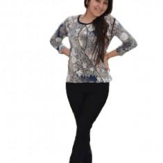 Bluza fashion cu imprimeu rafinat cu aspect dantelat, bleumarin-bej