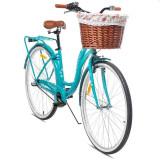 Bicicleta dama cu cos ratan, roti 28 inch, cadru 18 inch, 3 viteze Shimano, frane V-Brake, portbagaj, Maltrack Nexus