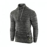 Pulover pentru barbati, gri inchis, guler inalt, flex fit, casual - Alaska Snowboarder