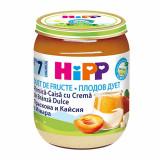 Piure Bio piersica și caise cu crema de branza Fruit-Duets, Gr. 7 luni, 160 g, Hipp