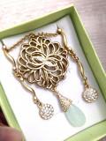 SET bijuterii dama-COLIER+CERCEI-placat cu aur 18k si cristale Swarovski