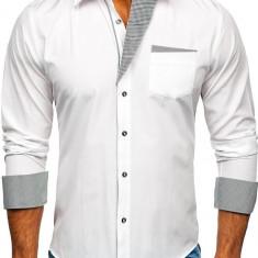 Cămașă elegantă bărbați alb Bolf 4713-A
