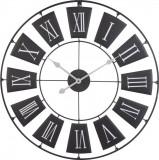 Ceas de perete din metal Negru cu limbi Gri si cifre romane Mari Albe D 70cm grosime 2cm