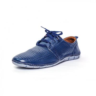 Pantofi Francesco Ricotti ,piele naturala,culoare albastru foto