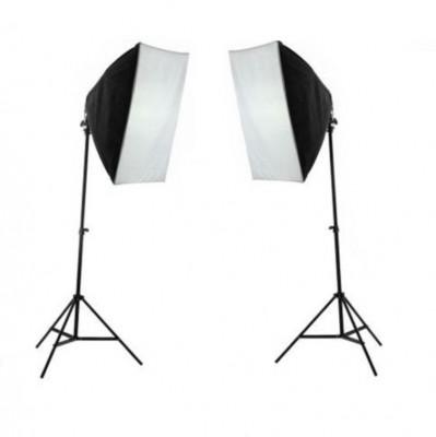 Kit lumina continua foto-video 2x stativ 250cm+2x softbox cu fasung 50x70cm+2x bec 85W foto
