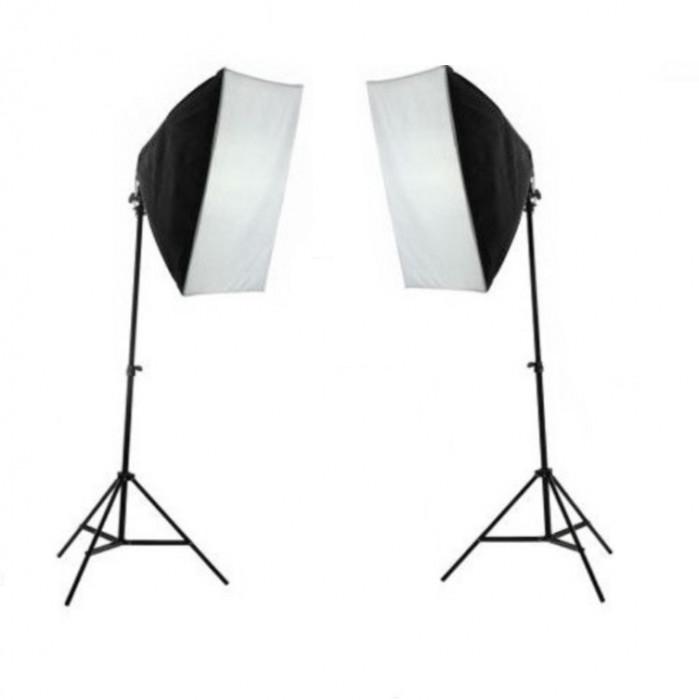 Kit lumina continua foto-video 2x stativ 250cm+2x softbox cu fasung 50x70cm+2x bec 85W