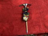 Piolet miniatural, alpenstock austriac cu clopotel si floare de colt