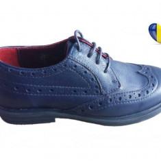Pantofi baieti piele naturala bleumarin - cod PF17