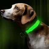 Zgarda reglabila LED pt caini sau animale de companie,VERDE,XS