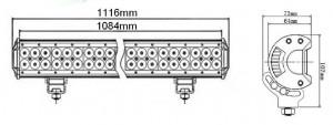 Bara proiectoare LED Auto Offroad 288W/12V-24V, 24480 Lumeni, 44″/112 cm, Combo Beam 12/60 Grade cu Leduri CREE XBD