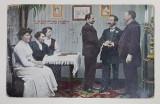 SCENA DE FAMILIE IN INTERIOR , PROTAGONISTI EVREI , CARTE POSTALA , INCEPUTUL SECOLULUI XX